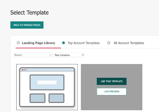 Landing Page Template Selection