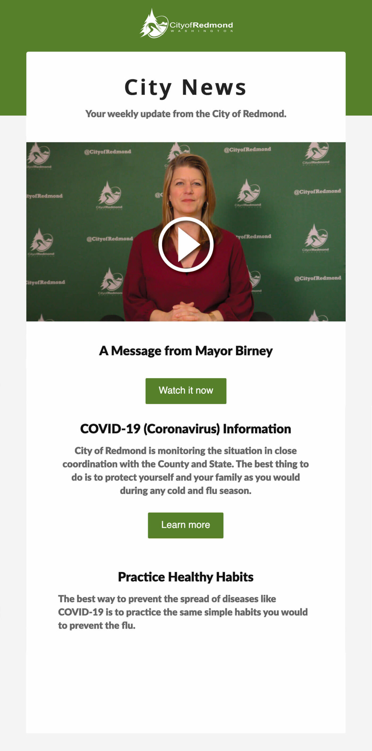 COVID:19 email message from mayor of Redmond, California