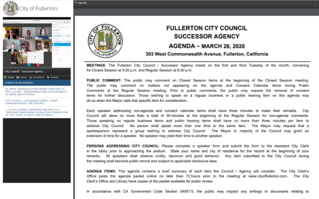 A screenshot of Fullerton's virtual meeting with councilmembers joining remotely and a meeting agenda.