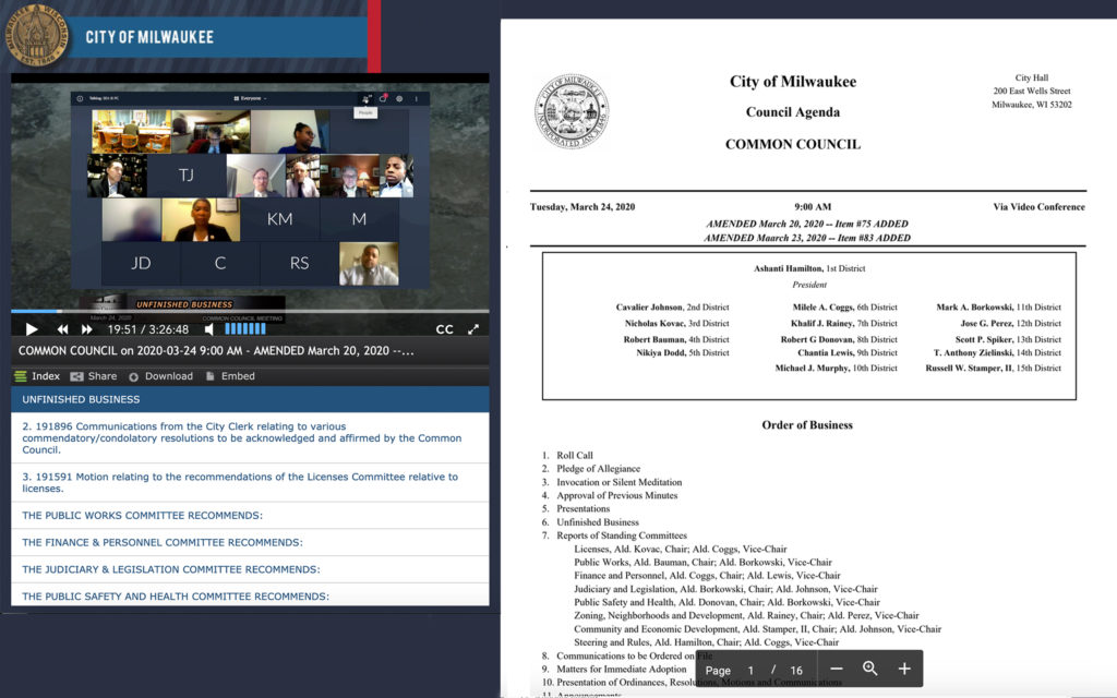 A screenshot of Milwaukee's virtual meeting with councilmembers joining remotely and a meeting agenda.