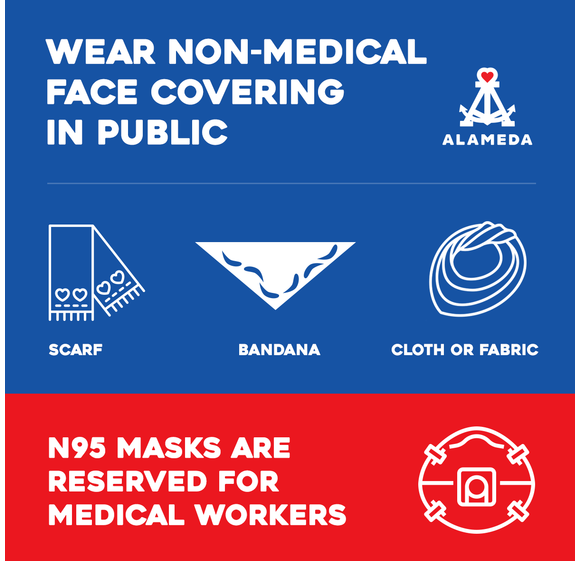 A graphic in Alameda's email depicts options for appropriate facemasks. It states N95 masks are for health care workers only.