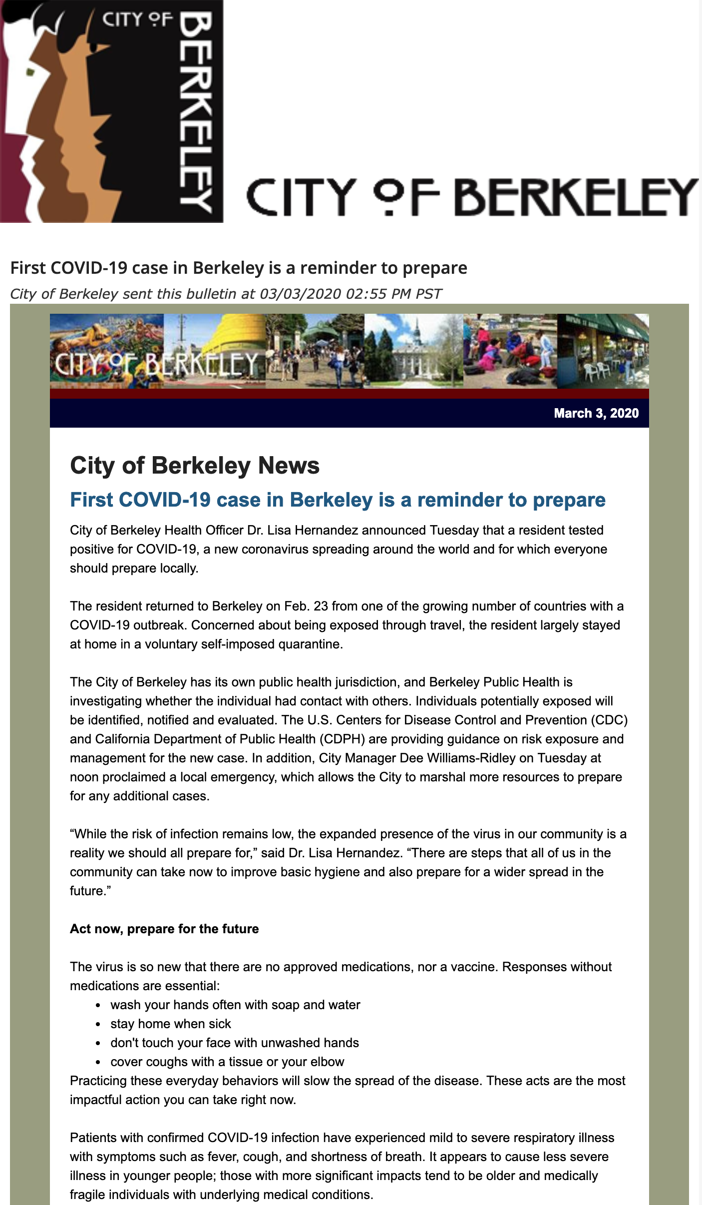 screenshot of email bulletin sent by City of Berkeley