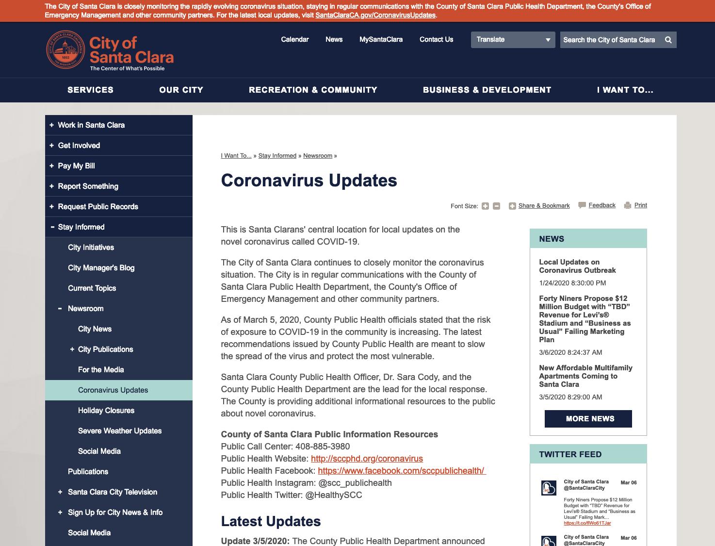 COVID:19 webpage update for City of Santa Clara, California