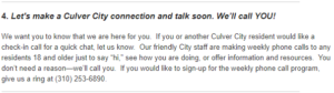 A screenshot of the email's section where Culver City offers a weekly phone call program.