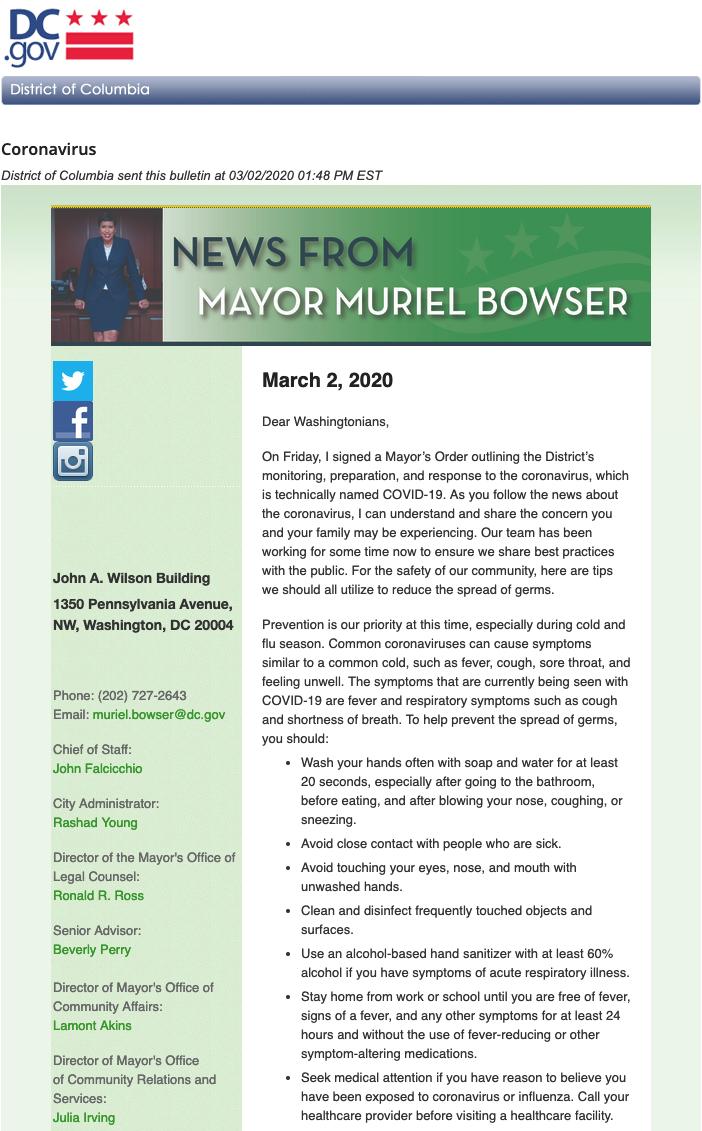 coronavirus email bulletin from the mayor of Washington D.C.