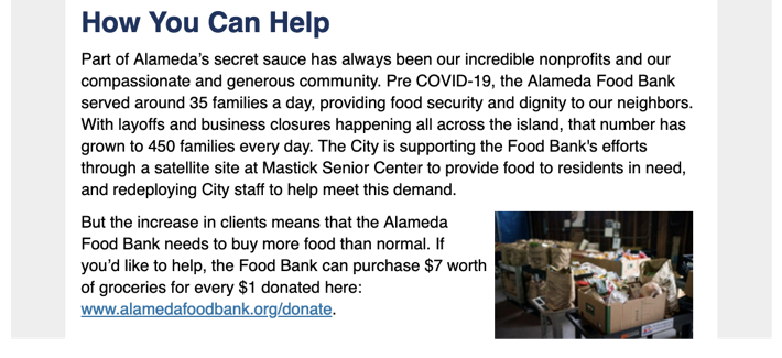 "excerpt from Alameda email with title ""How You Can Help"" with instructions for donating to the local food shelter"