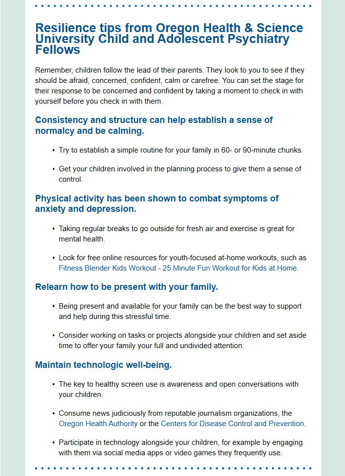 A screenshot of the email's first section which provides parents with tips.