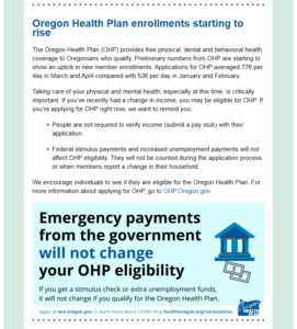 "Screenshot of the email's second section, which provides information on oregon's health plan. It includes a graphic that says ""Emergency payments from the government will not change your OHP eligibility."