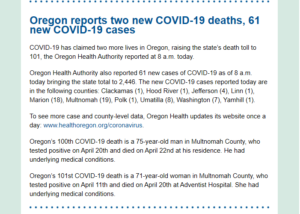 A screenshot of the email's third section, which provide COVID case and death numbers by county for the day.