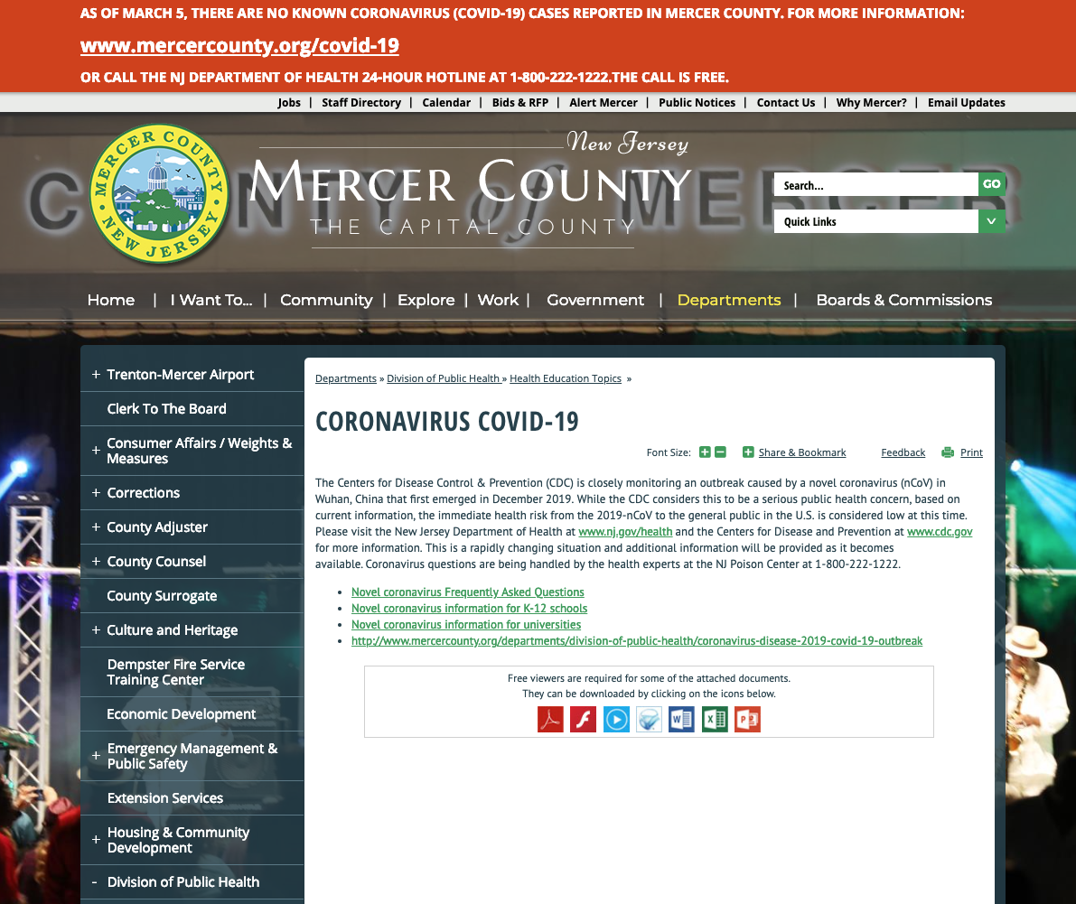 COVID:19 webpage update for Mercer County, New Jersey