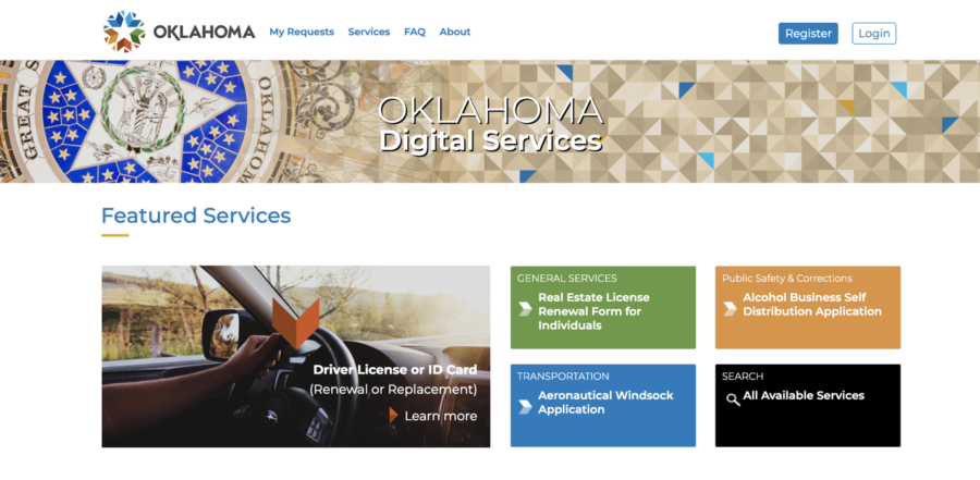 Screenshot of Oklahoma's digital services webpage.