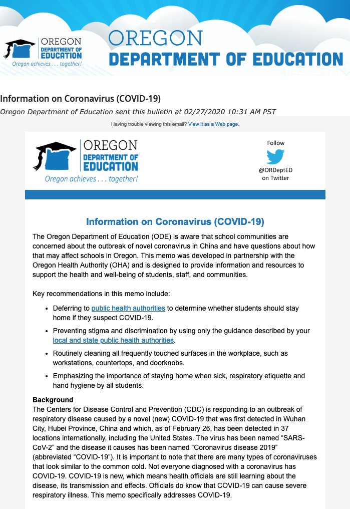 COVID:19 email update from Oregon Dept of Education