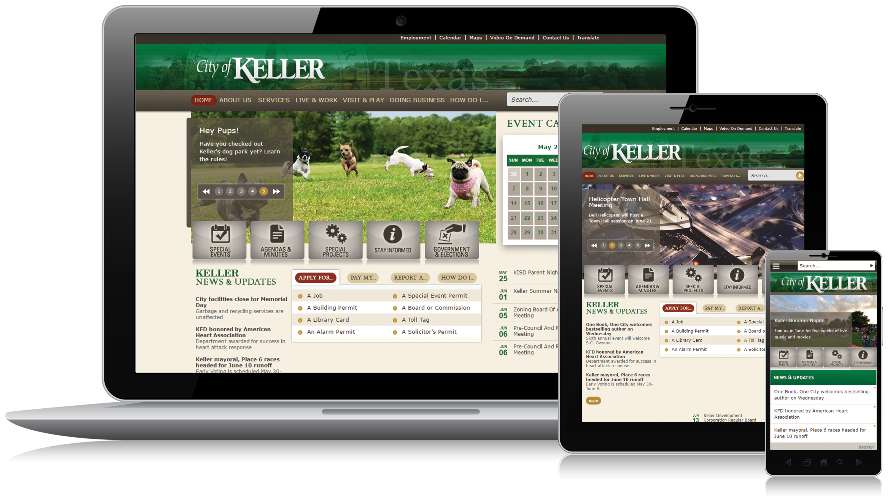 The City of Keller mobile-responsive website design