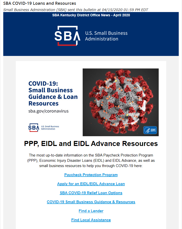 Screenshot of SBA's COVID-19 loans and resources email.