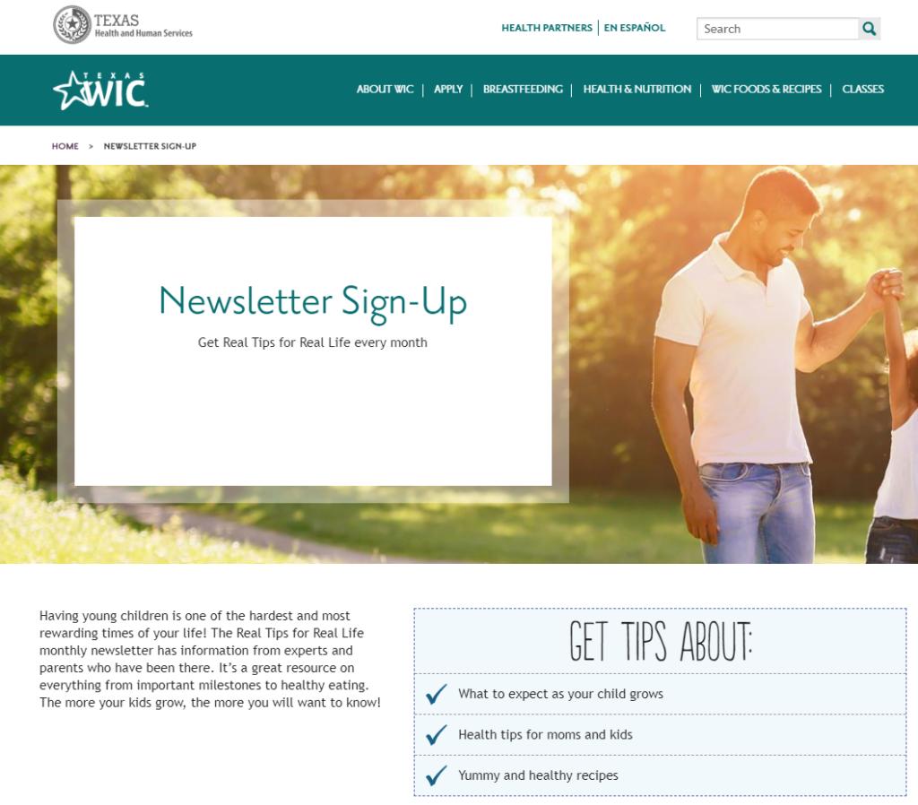 screenshot of new subscriber landing page