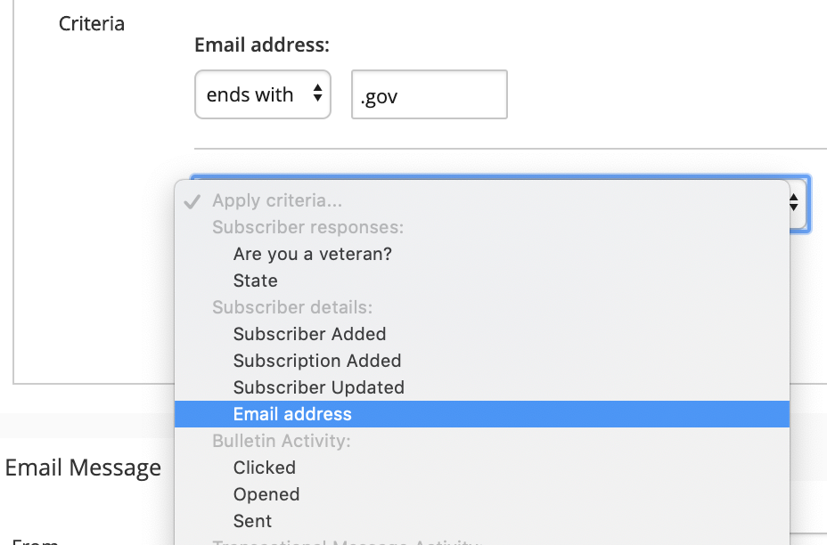 email address dropdown for targeted email segmentation