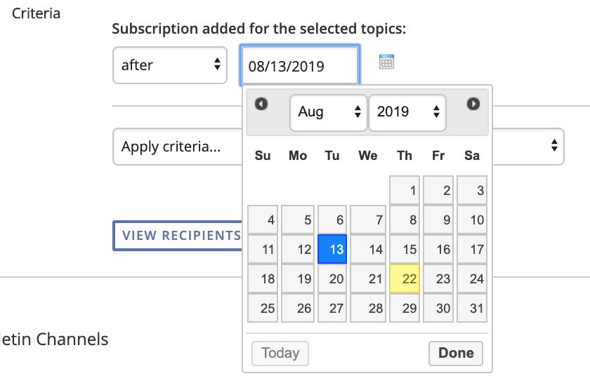 picture of calendar for setting up email segmentation by date