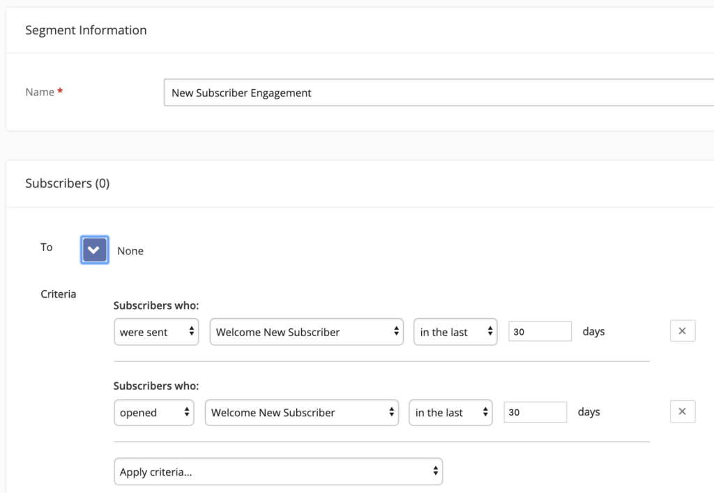 screenshot of email marketing software showing multiple segmentation criteria