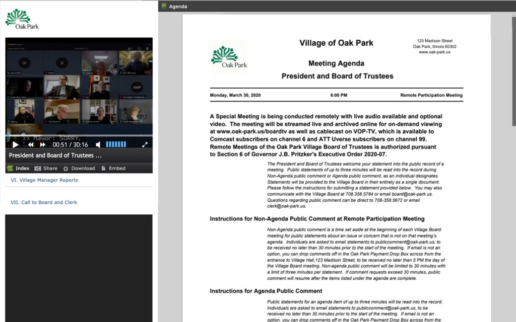 A screenshot of Oak Park's virtual meeting with councilmembers joining remotely and a meeting agenda.