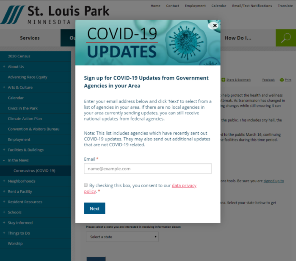 screenshot of the subscriber overlay in action on a government website