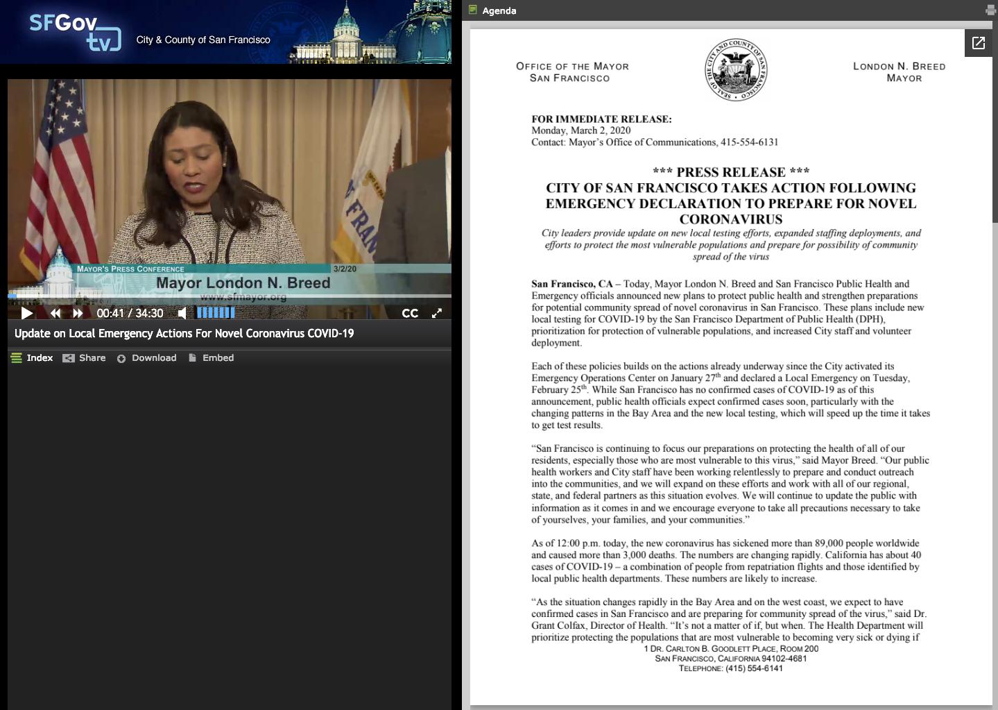 screenshot of San Fracisco mayor speaking about COVID:19