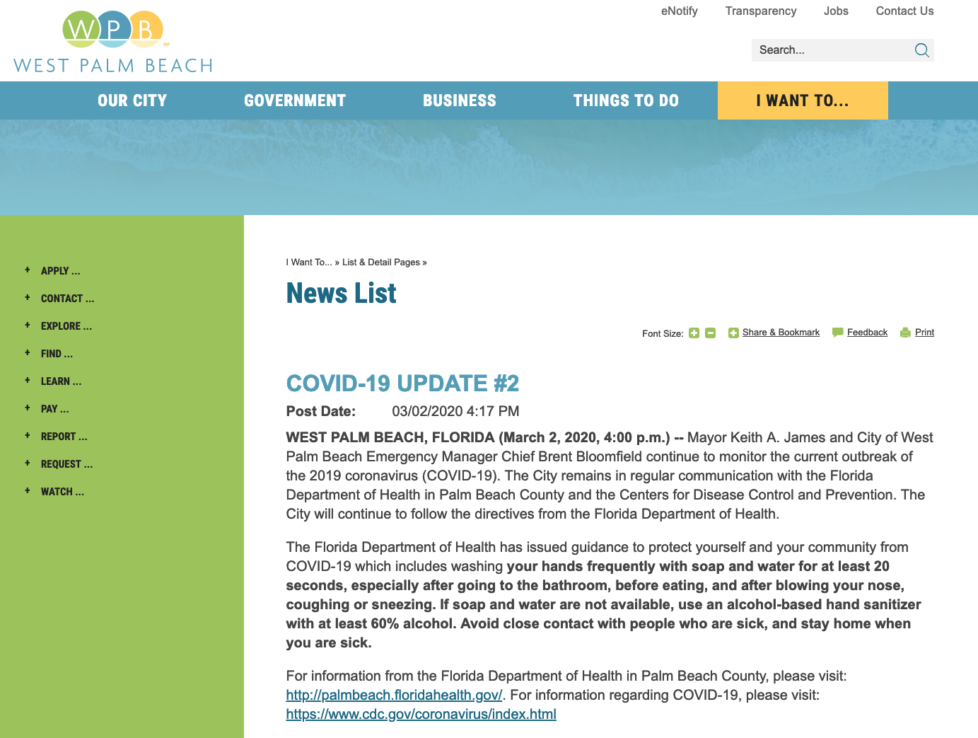 COVID: 19 webpage for West Palm Beach, Florida